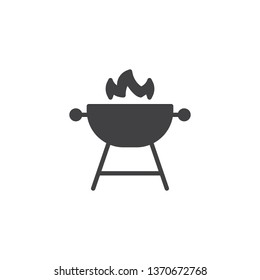 Barbecue Grill vector icon. filled flat sign for mobile concept and web design. BBQ stand with fire flame glyph icon. Symbol, logo illustration. Pixel perfect vector graphics