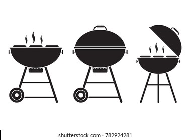 Barbecue grill vector icon in outline design. Opened bbq logo or label template.
