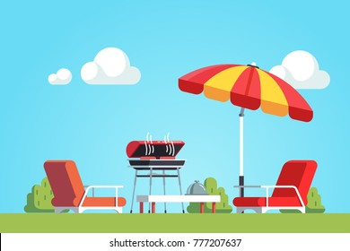 Barbecue grilling meat outdoors, lounger under parasol. Bbq cooking outside. Home backyard  barbecue party. Flat cartoon vector illustration.