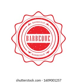 Barbecue grunge retro red isolated stamp