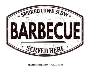 Barbecue grunge rubber stamp on white background, vector illustration