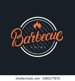 Barbecue hand written lettering logo, label, badge, sign, emblem. Vintage retro style. Isolated on background. Vector illustration