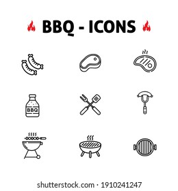 Barbecue icon set BBQ Meal Outdoor