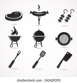 Barbecue icon set. Vector illustration.