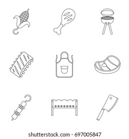 Barbecue icons set. Outline set of 9 barbecue vector icons for web isolated on white background