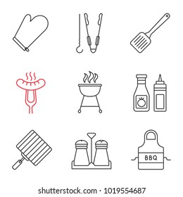 Barbecue linear icons set. BBQ. Oven mitt, skewer and tongs, spatula, grilled sausage, grills, ketchup and mustard, apron. Thin line contour symbols. Isolated vector outline illustrations