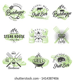 Barbecue logo, badge, label, emblem set. Vector illustration in retro style. Barbeque, grill bar, steak house or bbq party vintage typography.