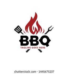 barbecue logo with bbq logotype and fire concept in combination with spatula