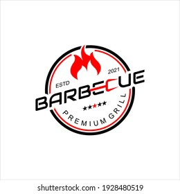 Barbecue Logo Design Grill Smoke Meat, Tasty Food and Meal Badge Graphic Template Ideas