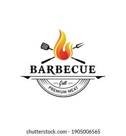 barbecue logo. flat design. vector illustration concept
