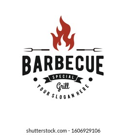 Barbecue logo inspiration. Food or grill design template.Vector illustration concept