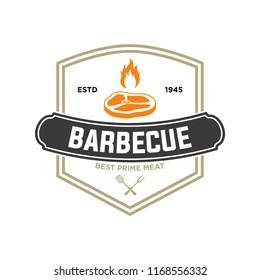 Barbecue logo template vector object. Trendy retro style illustration, Grill silhouette