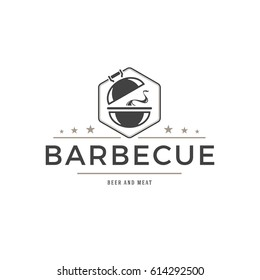 Barbecue logo template vector object for logotype or badge Design. Trendy retro style illustration, Grill silhouette.