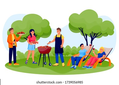 Barbecue outdoor party. Happy friends cooking grill meat and sausages on summer picnic. Vector flat cartoon men and women characters illustration. Weekend or holiday leisure concept