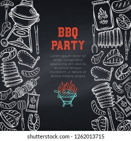 Barbecue page design. BBQ party poster template with hand drawn meat, chicken, fish, sausage and tools. Chalkboard style, vector illustration