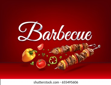 """Barbecue"" paper hand lettering calligraphy. Vector illustration with food objects and text."