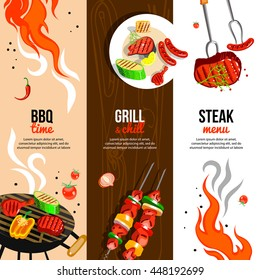 Barbecue party 3 flat vertical banners set with grilled steak sausages and vegetables abstract isolated vector illustration
