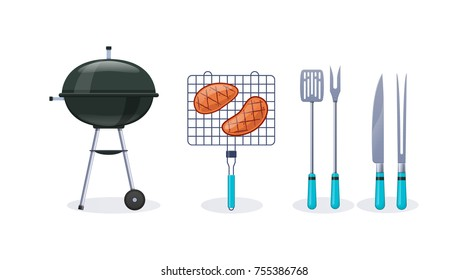 Barbecue party. BBQ, mangal with barbecue, cutlery, grill meat, fire, sauces, condiment. Preparation of fresh delicious steaks on grill, open air, rest, weekend home dinner Vector illustration