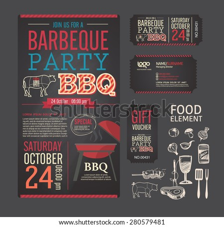 Barbecue party bbq template menu design stock vector royalty free barbecue party bbq template menu design set name card gift voucher ticket maxwellsz