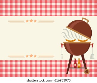 Barbecue party blank invitation. Flyer/card/invitation template. Vector illustration art.