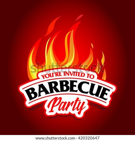 barbecue party design barbecue invitation barbecue のベクター画像