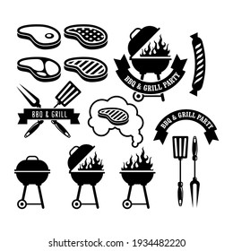 Barbecue party emblem, bbq and grill icons, vector