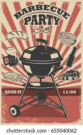 Barbecue party flyer template. Grill, fire, grilled meat, beer, butcher tools. Design elements for poster, restaurant menu. Vector illustration