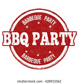 Barbecue party grunge rubber stamp on white background, vector illustration