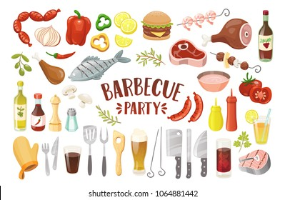 Barbecue party icons set. Grilled fish, meat, chicken, prawns, drumstick, sausages, burger, peeper, drinks, sauces and condiments. Isolated elements. Vector illustration.