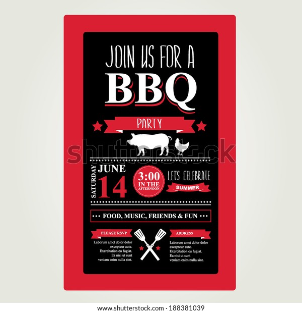 Barbecue Party Invitation Bbq Brochure Menu Stock Vector (Royalty ...