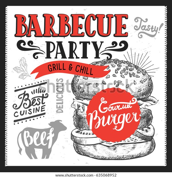 Barbecue Party Invitation Design Template Handdrawn Stock Vector ...