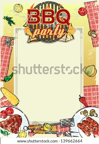 barbecue party invitation space text bbq stock vector royalty free