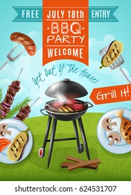 Barbecue party poster with steaks on grill, plates with chicken and vegetables, meat on skewers vector illustration