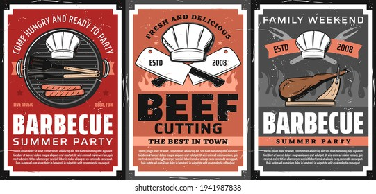 Barbecue party and steak restaurant retro poster. Sausages grilling on barbecue grill grid, BBQ tongs, fork and chef toque, kitchen hatchet, jamon leg on cutting stand vector. BBQ summer party banner