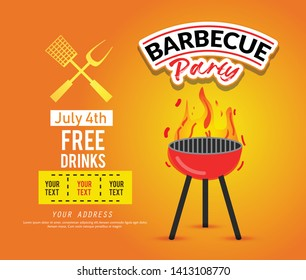 Barbecue party vector flyer or poster design template. BBQ cookout event retro typography. - Vector