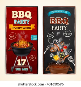 Barbecue party vertical realistic banners set with sausages and vegetables isolated vector illustration