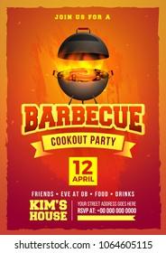 Barbecue Poster, Flyer, Template, Menu Card or Invitation Design.