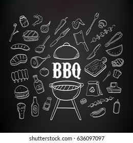 Barbecue products and tools hand drawn fiddle icons on the blackboard background. BBQ food and drink icons set.