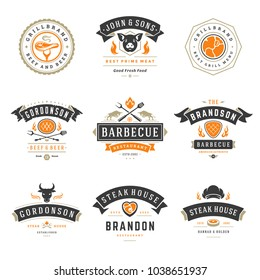 Barbecue restaurant logos and badges set vector illustration. Grill steak house menu emblems and food silhouettes. Vintage typography design.