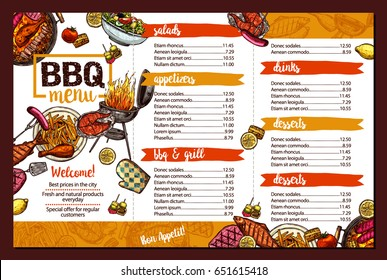 Barbecue Restaurant Menu. Template Design Of Bbq Brochure In Sketch Color Style