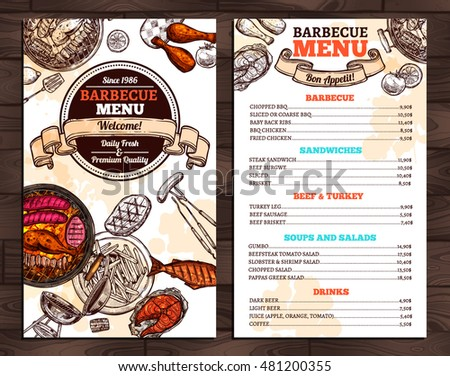 barbecue restaurant menu template design stock vector royalty free