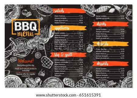 barbecue restaurant menu template design bbq stock vector royalty