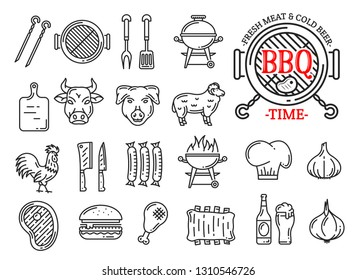 Barbecue restaurant, steak house or sausage grill bar and menu line icons. Vector signs of BBQ grill with beefsteak, pork or beef and chicken with burger, cutlery or beer and spices