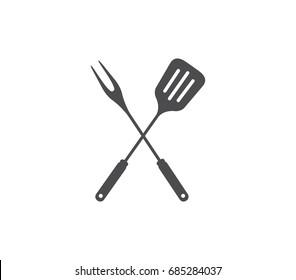 Barbecue tools icon. Grill tools icon.  Spatula icon. Spatula with fork icon.