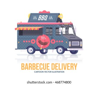 Barbecue truck. Delivery service. Street cuisine. Flat illustration.