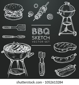 Barbecue vector chalk sketch set. Hand drawn grill, hamburger, skewer, hot dog, steak, sausage. Set for grilling doodle illustration. Bbq party hand drawn design elements. Eps 10