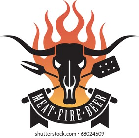 Barbecue vector emblem with cow skull and flames.