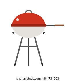 Barbecue vector. Grill icon isolated on white background. Color barbecue pictogram. Grill cartoon image in flat style.