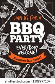 Barbecue vector hand drawn party poster with grill food and accessories. Sketch bbq design with typography on chalkboard