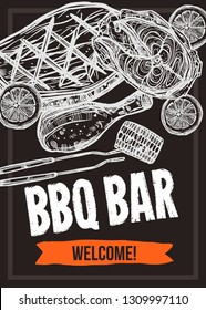 Barbecue vector hand drawn party poster with grill food. Sketch bbq design with typography on chalkboard